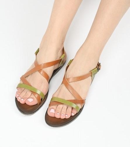 sandale piele naturala colorate
